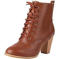 Stiefel Damen Blockabsatz Ösen Schnürsenkel Stiefeletten Runder Zeh Kurzschaft Schnürstiefel Einfarbiges Schuhe Damenschuhe
