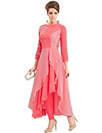 Kurti (Women's Georgette With Santoon Inner Long Sleeve Pink Color Anarkali Style Women Kurti)