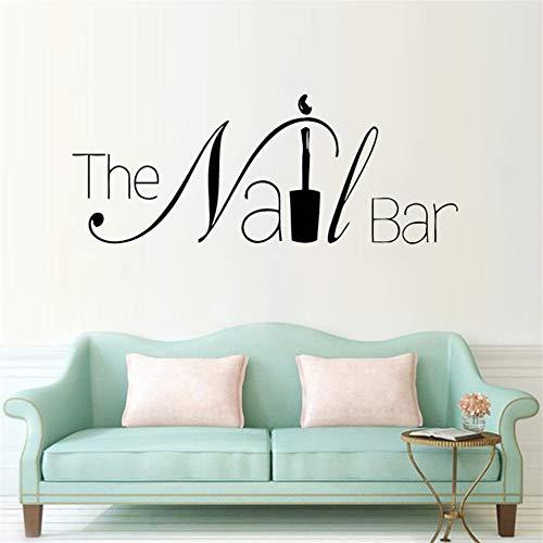 Die Nagel Bar Logo Wand Fenster Aufkleber Maniküre Design Wandtattoo Abnehmbare Nail Art Poster Schönheit Salon Fenster Decor ()