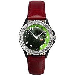 Reloj de cuero para mujer con piedrecillas y carllino negro
