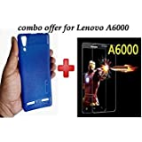 Lenovo A6000{Combo Offer Pack} Soft, Shock Proof Rugged Mobile Case Cover With Elegant,Honorable.Fashion + Tempered Glass, Premium Real 2.5D 9H Anti-Fingerprints & Oil Stains Coating Hardness Screen Protector Protector For Lenovo A6000 By Praksh