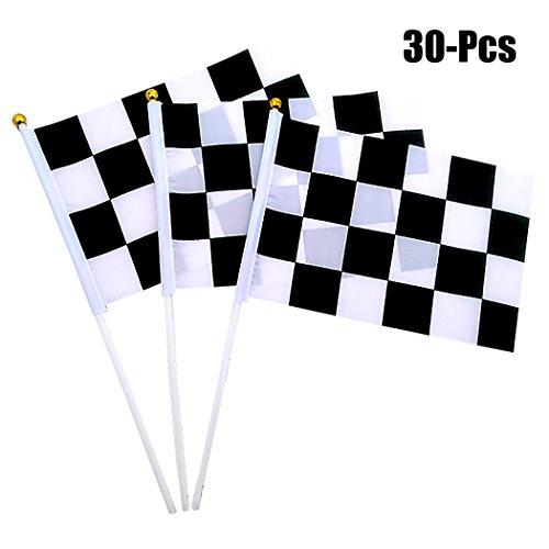 Joyibay 30 Stück Rennen Flagge Kariert Flagge Modisch Handheld Stock Flagge für das Rennen Auto Sport Party