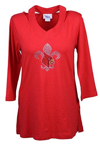 Nitro USA NCAA Damen Tunika mit Ausschnitt aus Ausschnitt und Strass und Metallic-Kardinal-Flour, Damen, rot, 2X -