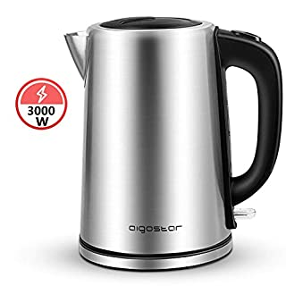 Aigostar Rob 30LNM - 3000W High Power Electric Kettle, 304 Food Grade Stainless Steel, Cordless Kettle, 1.7L, Boil-Dry Protection and Auto Shut-Off, BPA Free.