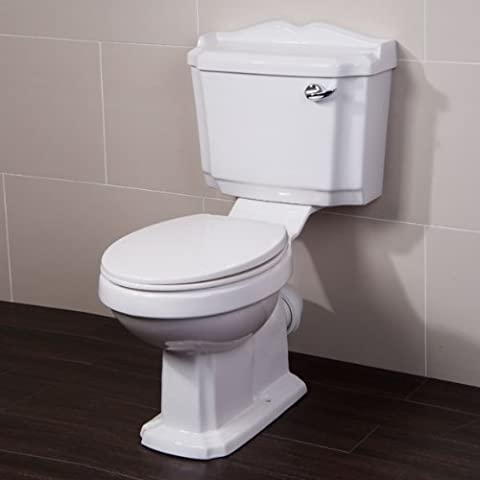 Traditional Toilet Pan and Cistern with Seat - Soft Slow Close Design for Bathroom Ensuite Cloakroom - Lever Action Flush White System (Dimensions - Height: 865mm, Pan Width: 495mm, Depth: