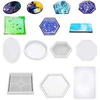 Henan - Moldes de silicona de resina (7 unidades), diseño de posavasos