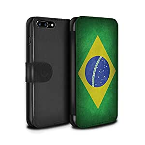 Stuff4 Coque/Etui/Housse Cuir PU Case/Cover pour Apple iPhone 7 Plus / Brésil/brésilien Design / Drapeau Collection