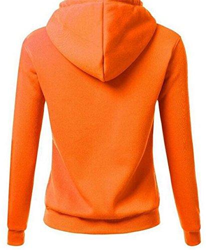 AILIENT Femme Sweats à capuche Classique Automne Hiver Manches Longues Patchwork Lettres Impression Hooded Manteau Sweatshirt Tops Soft Orange