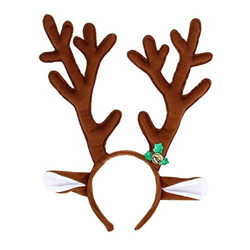 Yodensity Süß Weihnachten Haarreif Kurzes Plüsch Rentiergeweih Stirnband als Schmuck und Dekor (in Rot/Braun)