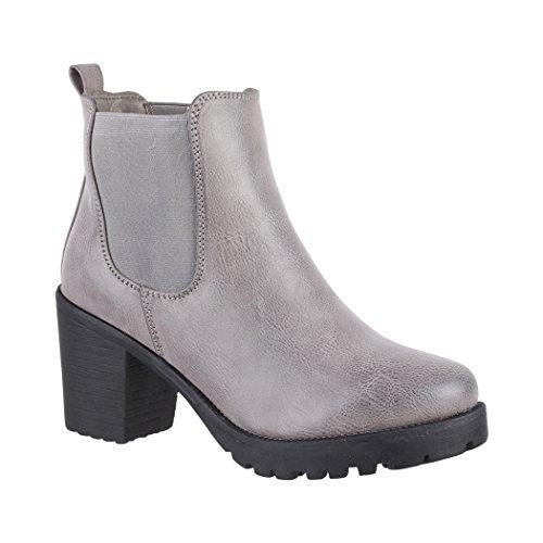 Elara Damen Stiefelette | Bequeme Ankle Boots| Chunkyrayan 2018 C166-Grey-41
