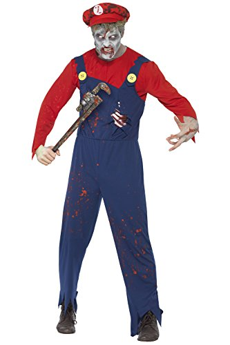 New Herren Halloween Zombie Klempner Fancy Dress Party Kostüm