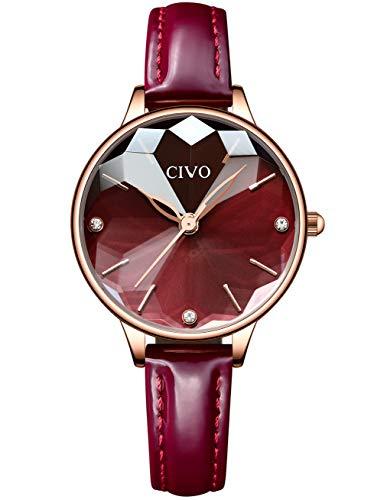 CIVO Relojes para Mujer Reloj Damas de Malla Impermeable Lujo Minimalista Oro Rosa Elegante Banda de Acero Inoxidable Relojes de Pulsera Moda Vestir Negocio Casual Reloj de Cuarzo (Rojo)