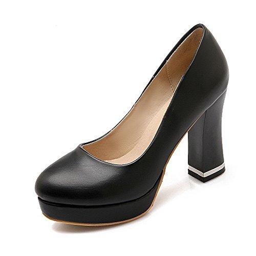 VogueZone009 Femme Rond Tire Pu Cuir Couleur Unie à Talon Haut Chaussures Légeres Noir