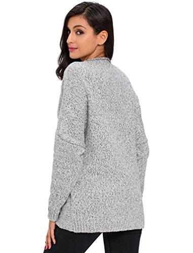 YOUJIA Pull Tops pour Femmes Mode Col V Croisé Tricot Pull-over Chandail Casual Asymétrique Sweater Jumper Gris