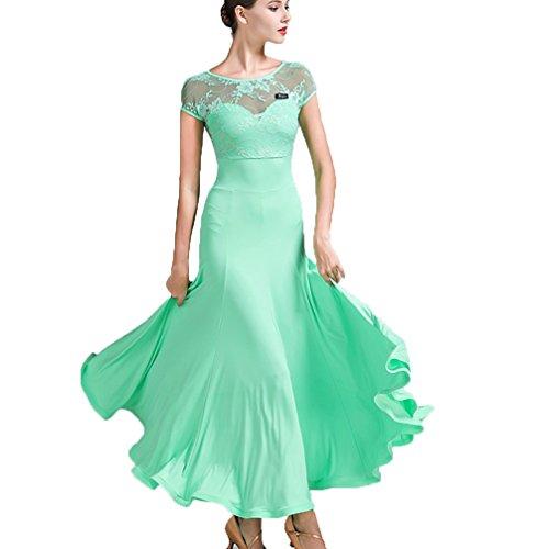 Walzer Moderner Tanzrock für Frauen Schnüren Nähen Kurzarm Nationaler Standardtanz Performance Ballroom Tanzkleid Tango Professionel Übe Kostüm, Green, S