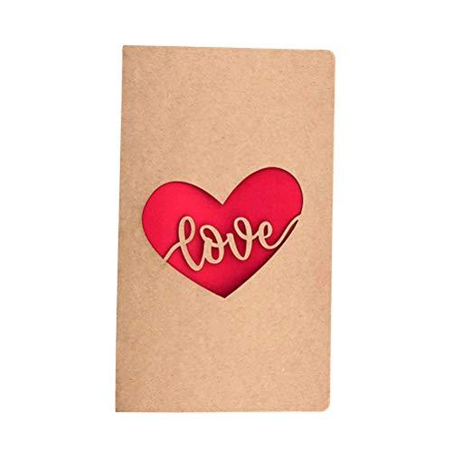 Vosarea biglietto d'auguri scava cuore con busta per la festa di compleanno di san valentino