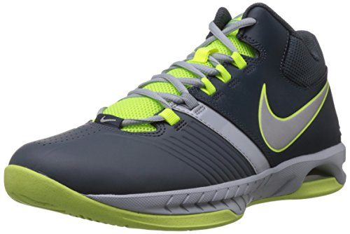Nike Men's AIR VISI PRO V Dark Magenta, Grey, Metallic Silver and Volt Basketball Shoes - 9 UK