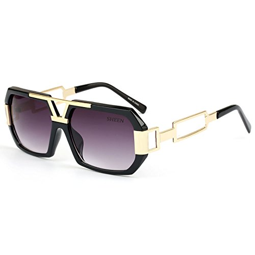 SHEEN KELLY Retro Square Sonnenbrille Luxus Damen Herren Metall Brillen Gold Herren Rechteckig Brille Transparente
