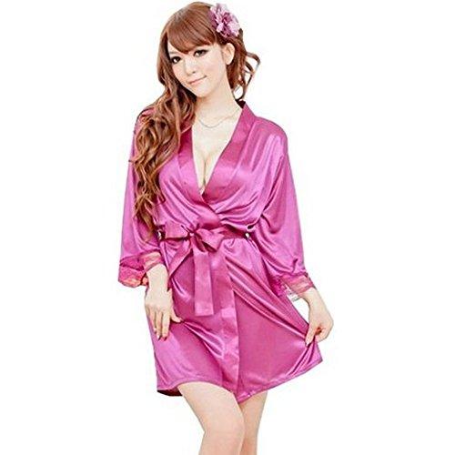 Damen Sexy Silk Bademantel Fusia