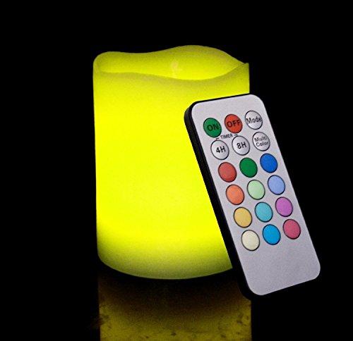 Mando a distancia Multi-color LED con forma de vela sin llama