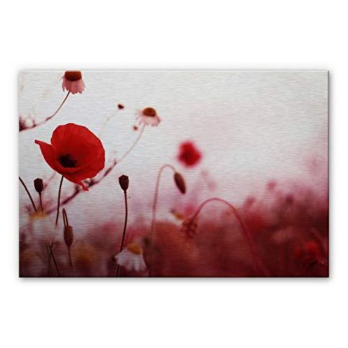 Impressionen Roter Mohn (Alu-Dibond Bild Mohn Impressionen rot Blumen Blüten Floral Feld Wall-Art - 100x70cm)