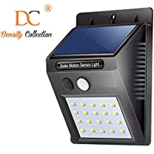 Density Collection 20 LED Bright Outdoor Security Lights with Motion Sensor Wireless Waterproof Night Lighting Solar Powered Spotlight for Garden (Black, 9.7 x 4.8 x 12.4 cm)