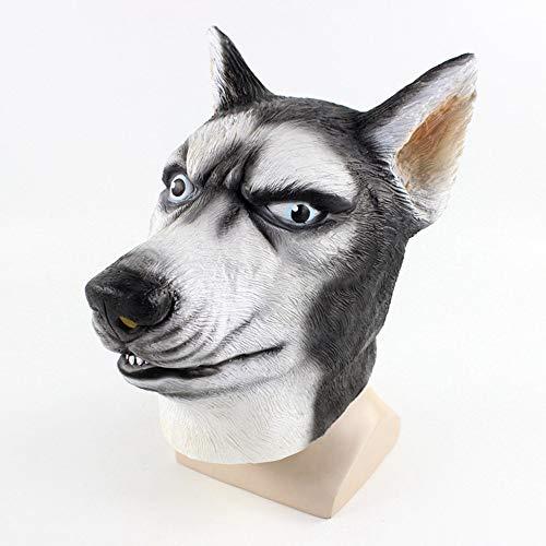 Dkings Husky Hund Maske, voll das Gesicht, gruselige Tier Kopf Latex Maske Plus Spitze Maske, Cosplay, Kostüm Party und Film - Monster High Hunde Kostüm