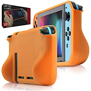 Orzly Grip Case for Nintendo Switch – Protective Back Cover for use on The Nintendo Switch Console in Handheld Gamepad Mode with Built in Comfort Padded Hand Grips – ORANGE