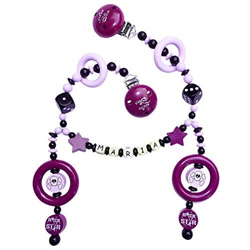 Kinderwagenkette mit Namen für Mädchen und Jungs Rockabilly Kleine Diva Würfel Skull Totenkopf Stern purpur flieder schwarz