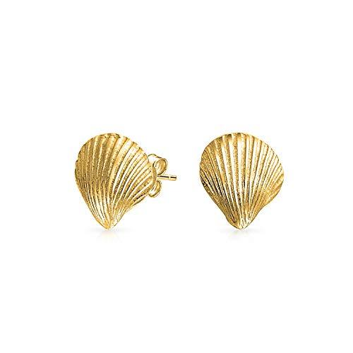 Nautische Tropischen Strand Cockle Muschel Ohrstecker Für Damen Leben Im Meer 14K Vergoldet Sterling Silber 925 (14k Gold Vergoldet Ohrringe)
