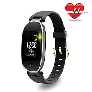 Fitness Tracker, wowgo Mujer Sport Tracker pulsera de reloj inteligente banda pulsómetro, Smart pulsera, pulsera reloj con salud Sleep Actividad Rastreador podómetro para teléfono inteligente - W1005US-FT-BS, Negro y plateado