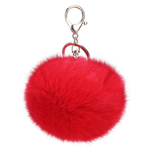 niceEshop(TM) Porte- Clés / Pendentif de Sac avec Balle en Fourrure de Lapin (Rouge Foncé)