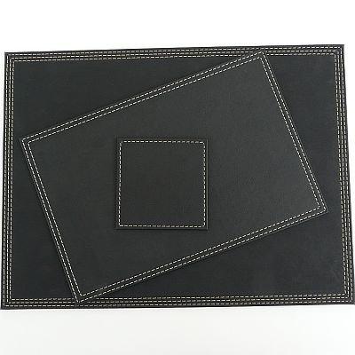 Denby 30 x 20 cm Faux Leather Placemat Set, Set of 4, Black