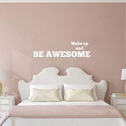 Wuyyii 90X24Cm Inspirational Schlafzimmer Wandaufkleber - Aufwachen Und Seien Sie Ehrfürchtig - Kinderzimmer & Kinderzimmer Schlafzimmer Morgen Motivation Zitate WandtattoosB