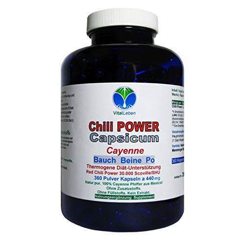 Chili POWER CAPSICUM PRO F-BURNER 360 Cayenne Kapseln | Diät Unterstützung & (Fett) Stoffwechsel. Abnehmen, schlank & fit bleiben durch Gewichtsmanagement | NATUR pur | 26595-360 -