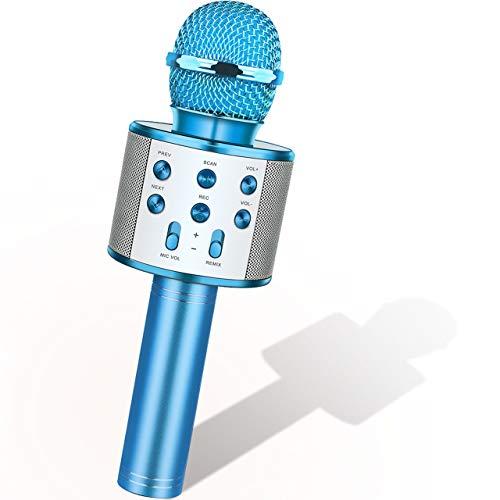 Dreamingbox Unisex Jugend Weihnachts Geschenke für Mädchen, Kabelloses Karaoke Mikrofon für 4-12 jährige Kinder Spielzeug Jahre Jungen ab, Blau, 25X11X10 cm