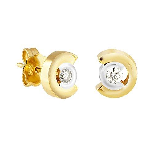 Diamond Line Damen  Gelbgold diamant Ohrstecker 585er 2 Brillanten 0.20ct. gW-Lupenrein, Diamant...