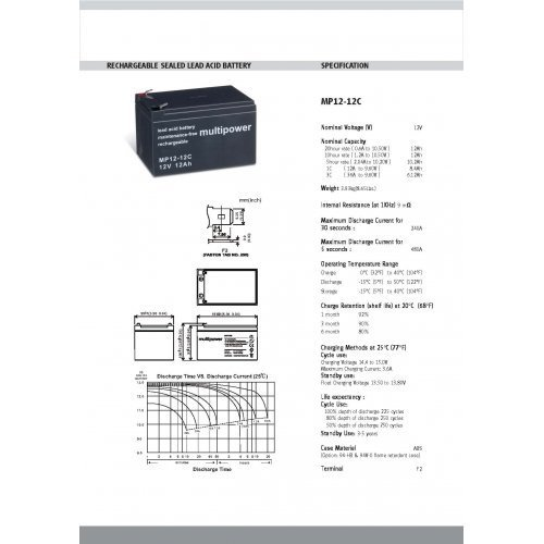 Preisvergleich Produktbild Premium Powery Bleiakku (multipower) MP12-12C zyklenfest, Lead-Acid, 12V