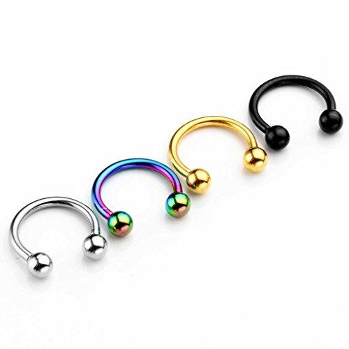 Zysta 4 coppie set 1.2mm orecchino in acciaio inossidabile piercing a ferro di cavallo per orecchio seno trago labbra naso setto orecchino anello cerchio, argento+oro+nero+colorato