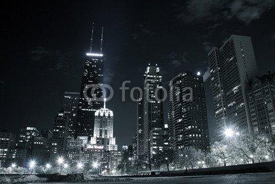 "Alu-Dibond-Bild 90 x 60 cm: ""Chicago by night"", Bild auf Alu-Dibond"