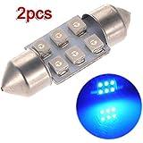 2x C5W LED 6 SMD 31MM Xenon Ampoule Lampe navette plafonnier dome Lumiere Bleu 12V DC