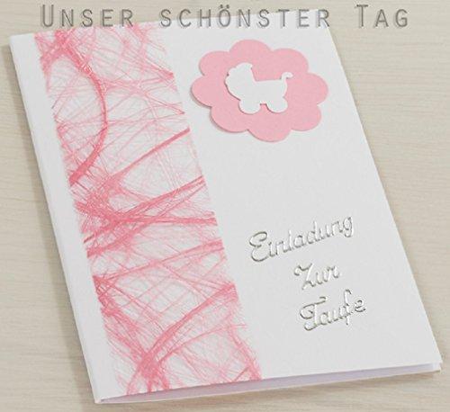 Produktbild 10 x Einladung Einladungskarte Taufe Einladungen rosa KT007