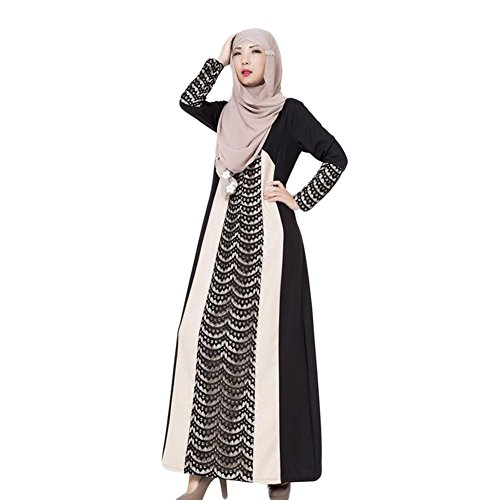 Haodasi Femme Musulman Arab Robe Middle East Kaftan Abaya Lace Stitching Dress Black