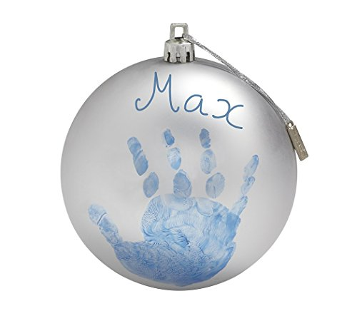 Baby Art Bastelset: Weihnachtskugel für Handabdruck und Namen des Kindes zum Selbstbemalen, matt silber