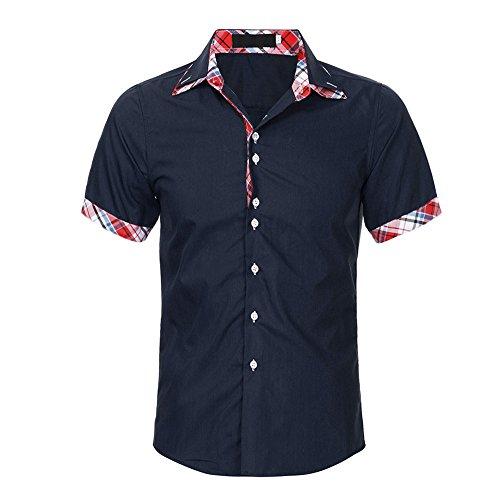 BURFLY Polo Shirts Herren Männer-Hemd-Art und Weise Normallack-männliches zufälliges kurzes Hülsen-Hemd (M, Navy)
