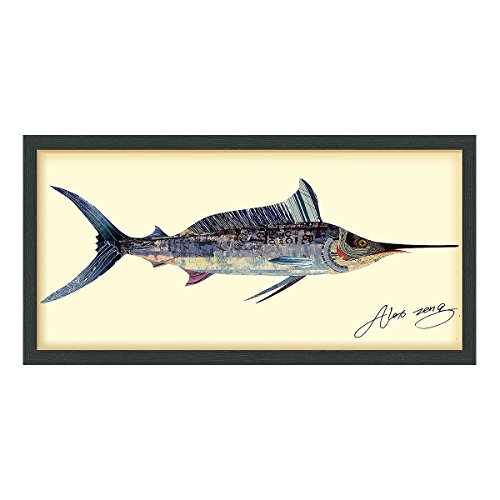Empire Art Direct Blue Marlin Dimensional Collage Handmade by Alex Zeng  Framed Graphic Fish Animal Wall Art 17