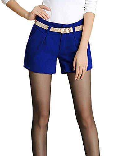 Femmes Boucle De Ceinture Fermeture Bouton Braguette Zip Poches En Biais Short Décontracté Bleu Roi