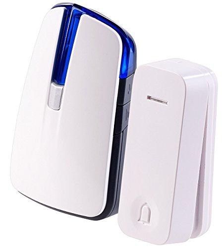 CASAcontrol Optische Klingel: Batterie-Funkklingel mit kinetischem Funk-Taster, Licht & Ton (Batterielose Funk Türklingel)