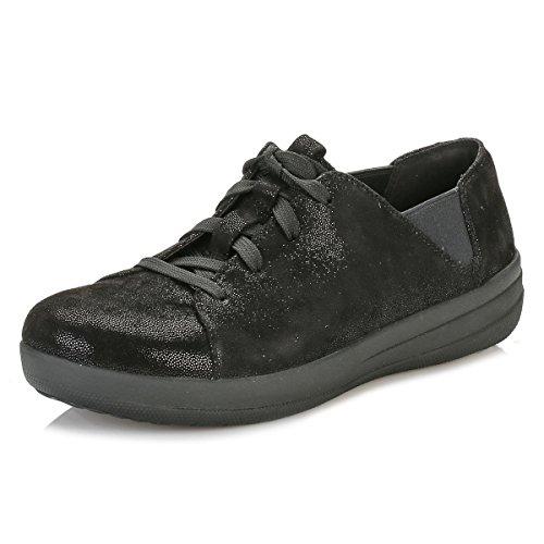 FitFlop - F-sporty Lace Up Glimmer, Sneaker basse Donna Black (Black Glimmer)