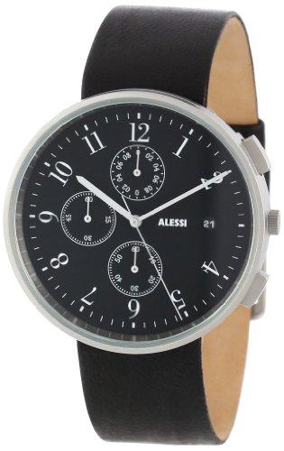 Alessi - AL6021 - Montre Homme - Automatique - Analogique - Bracelet Cuir Noir